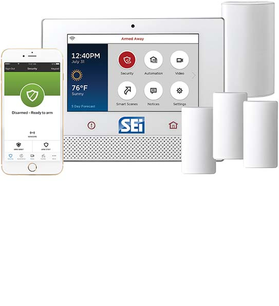 Home security system package including panel, door contacts, glass break and phone application